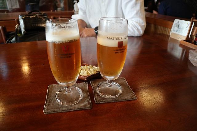甲府手打そば奥村本店ビールで乾杯